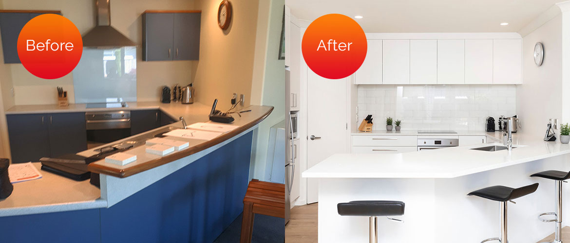 Laminate blue and off-white kitchen updated to a contemporary, all-white look with handleless cabinets and the removal of the higher bar level creating a streamlined look.