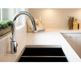 stainless steel tap over a double-basin sink