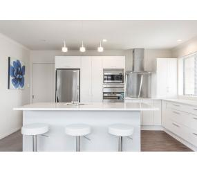 white stainless steel kitchen